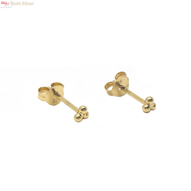 Goud op zilver mini oorstekers 3 kleine balletjes
