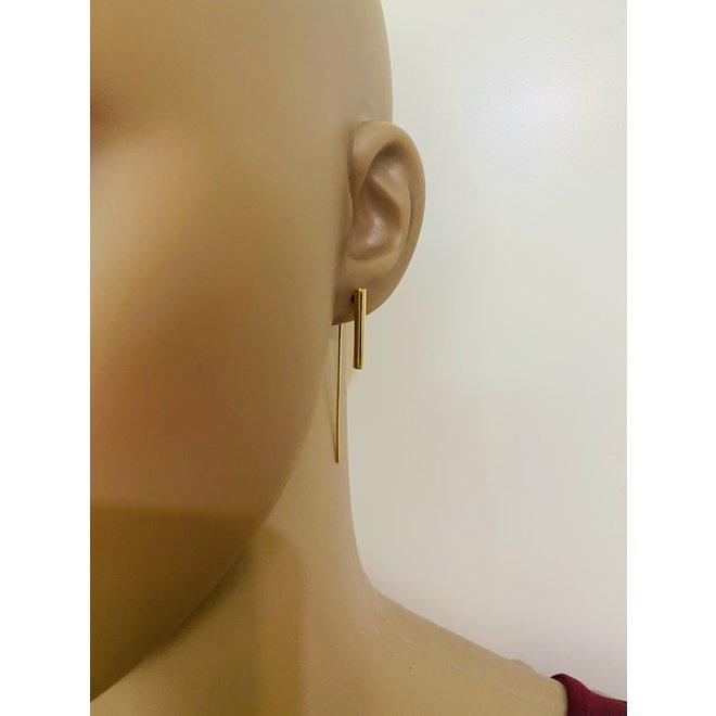 Goud op zilver design koker haak oorhangers