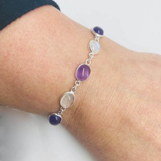 Zilveren armband regenboog maansteen amethist handgemaakt