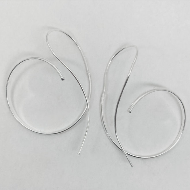 Zilveren grote spiraal oorbellen