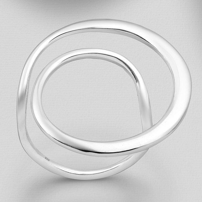 Zilveren grote desing ring spiraal