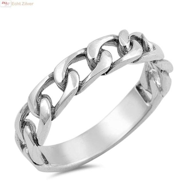 Zilveren gourmet kabel ring
