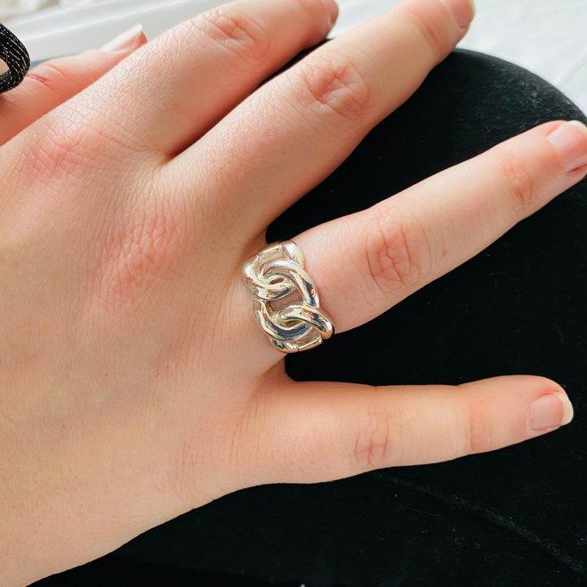 Zilveren brede gourmet kabel ring