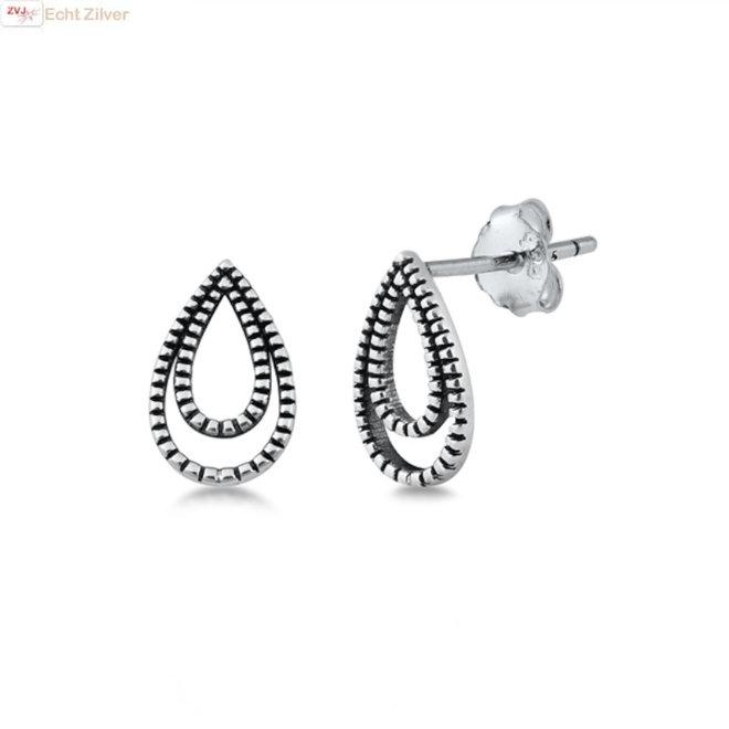 Zilveren dubbele druppel oorbellen oxide