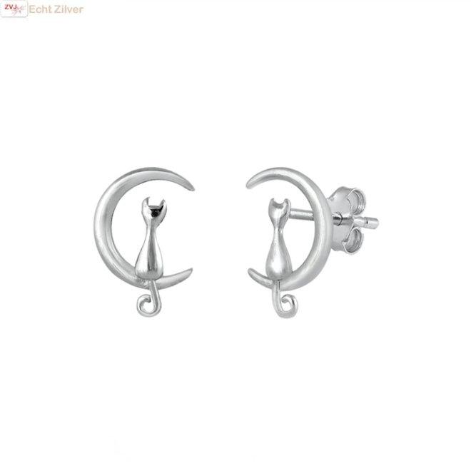 Zilveren poes in maan oorstekers