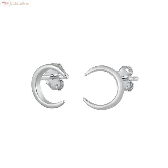 Zilveren halve maan oorstekers