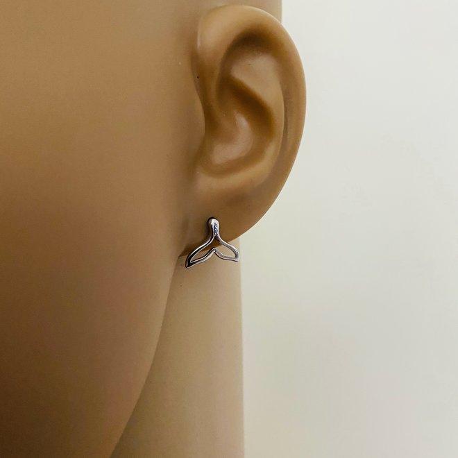 Zilveren open walvisstaart oorbellen