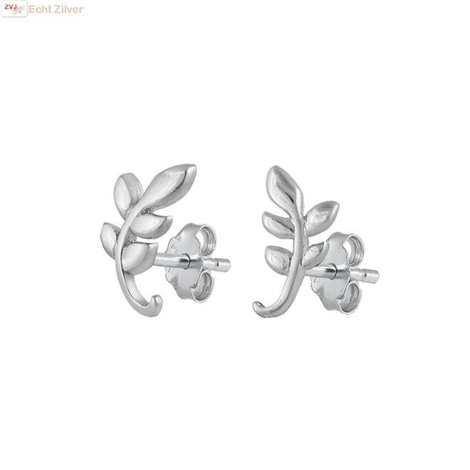 Zilveren branche leaves oorstekers, takje