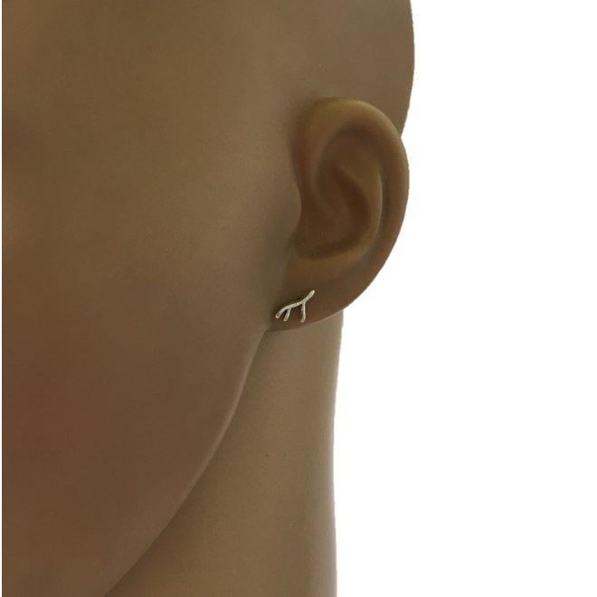 Zilveren mini takje oorstekers