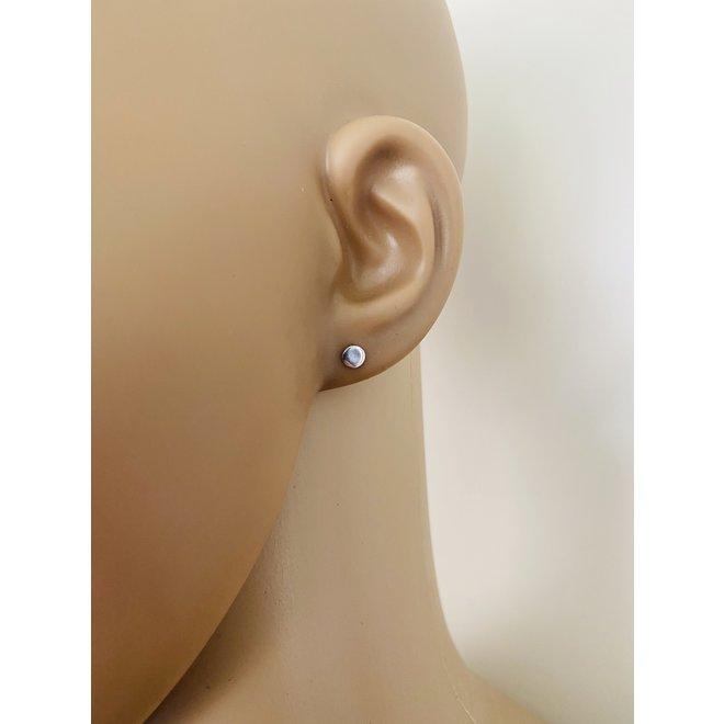 Zilveren kleine ronde disc oorstekers