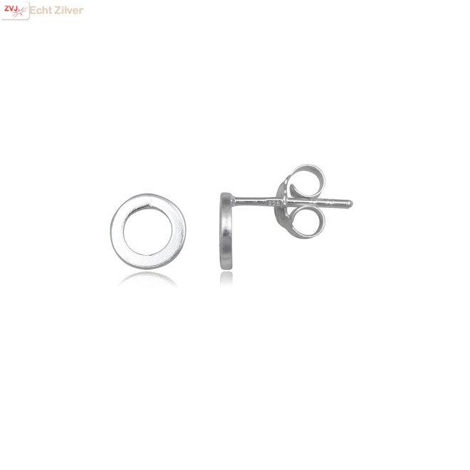 Zilveren kleine open cirkel oorstekers