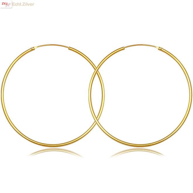 Gouden oorringen ronde buis 50 x 1.5