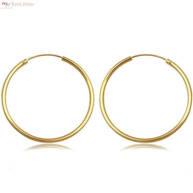 Gouden oorringen ronde buis 39x2 mm