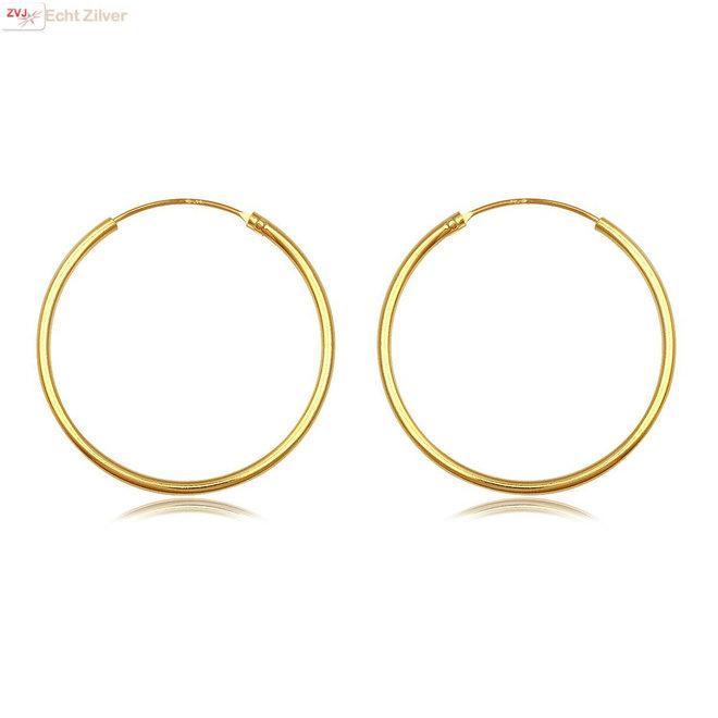 Gouden oorringen ronde buis 30 x 1.5 mm
