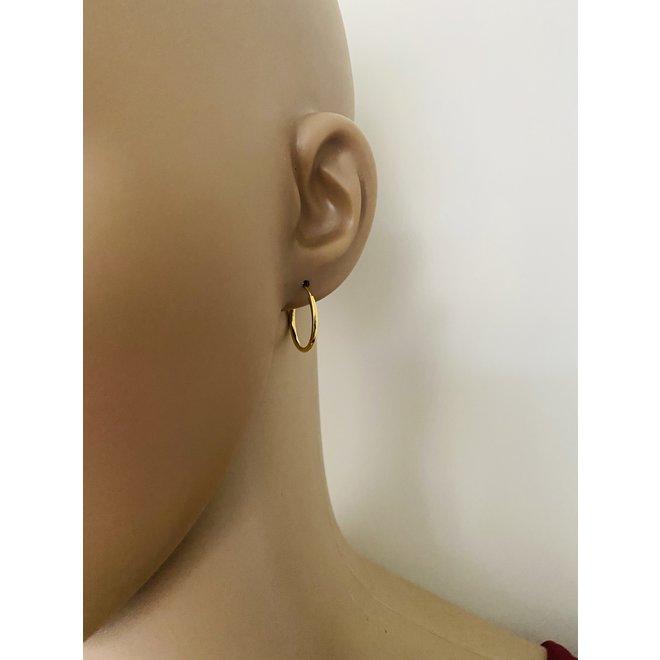 Vermeil: 925 zilveren geel goud vergulde oorringen 18 x 1.5 mm