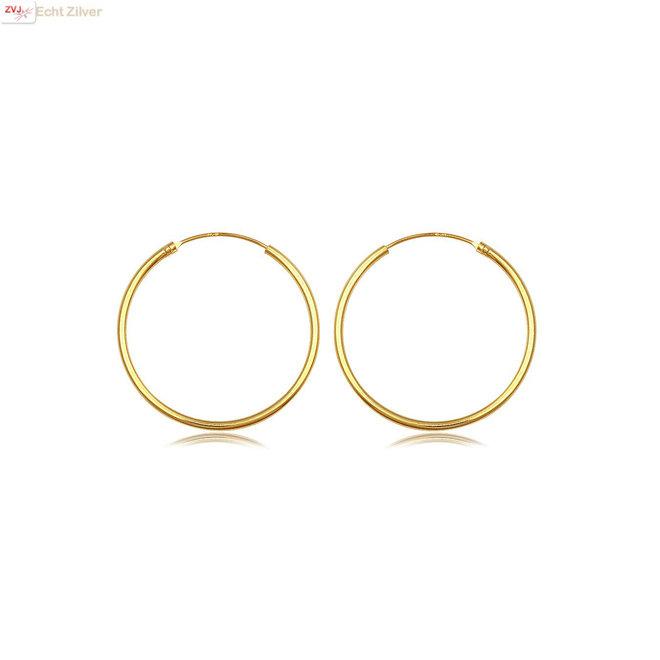 Gouden oorringen ronde buis 18 x 1.5 mm
