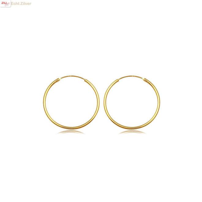 Gouden oorringen ronde buis 16 x 1.5 mm