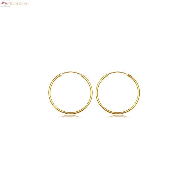 Gouden oorringen ronde buis 14 x 1.5 mm