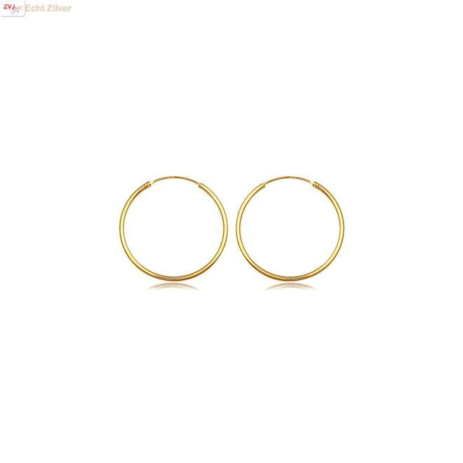 925 zilveren geel goud vergulde oorringen 14 x 1.5 mm