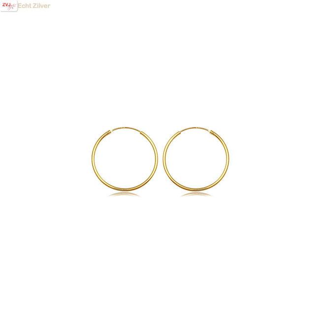 Gouden oorringen ronde buis 12 x 1.5 mm