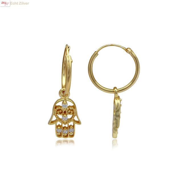 925 zilveren geel goud  hamsa oorringen witte zirkoon
