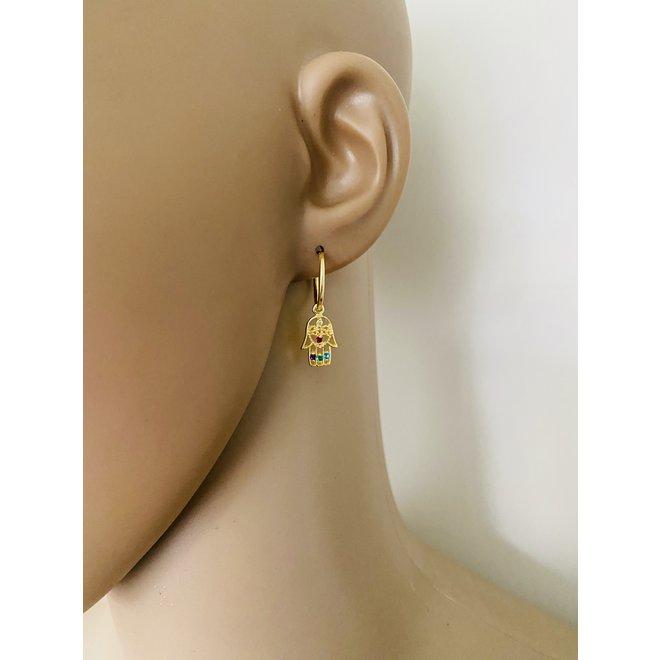 925 zilveren geel goud  hamsa oorringen multicolor zirkoon