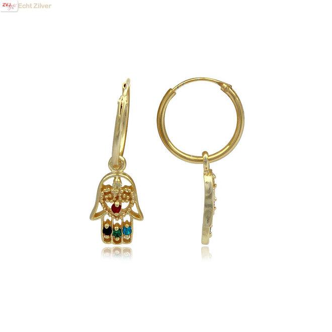 Vermeil: 925 zilveren geel goud  hamsa oorringen multicolor zirkoon