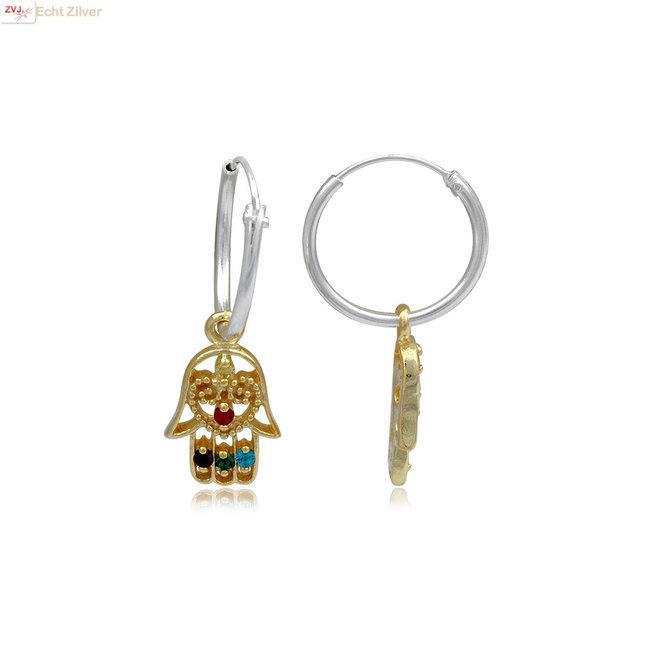 925 Zilveren oorringen gouden hamsa hanger multicolor
