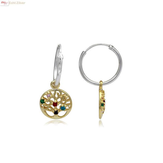 Vermeil: 925 Zilveren oorringen gouden levensboom hanger multicolor