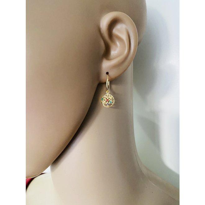 Vermeil: 925 zilveren geel goud  levensboom oorringen multicolor zirkoon