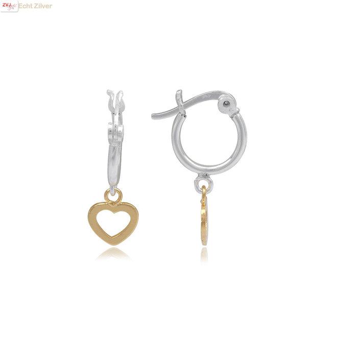 925 zilveren oorringen met een geel goud verguld hartje hanger