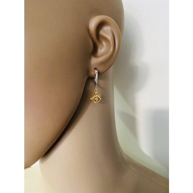 925 zilveren oorringen met een geel goud verguld oog hangertje