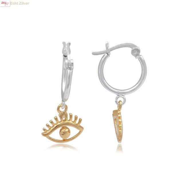 Zilveren oorringen gouden oog
