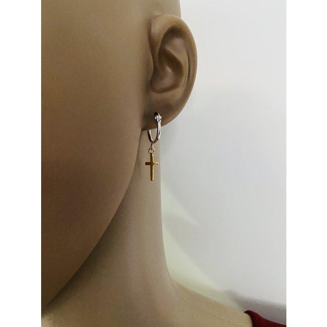 925 zilveren oorringen met een geel goud verguld kruis hangertje