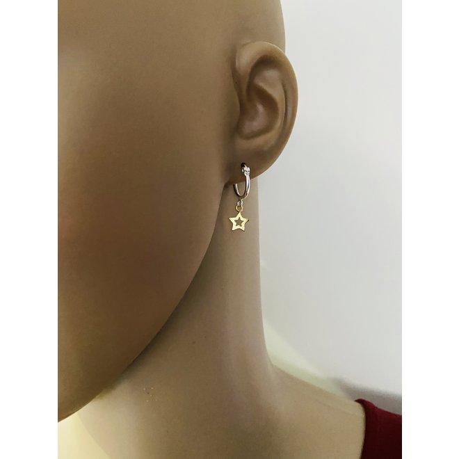 925 zilveren oorringen met een geel goud verguld ster  hangertje
