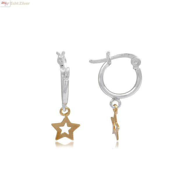 Zilveren oorringen gouden sterretje