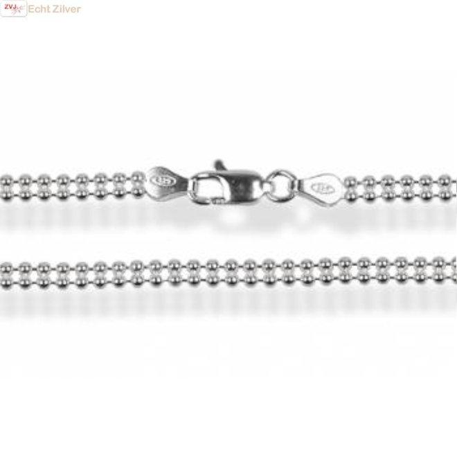Zilveren laser beads ketting 40 cm 3 mm