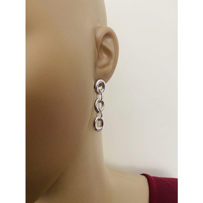 Zilveren 3 schakels oorbellen