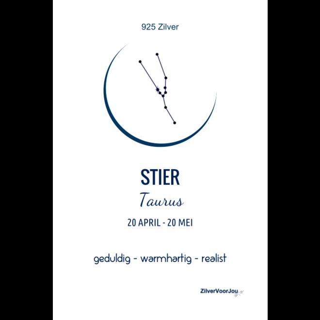 925 Zilveren Stier Taurus sterrenbeeld zodiak ketting