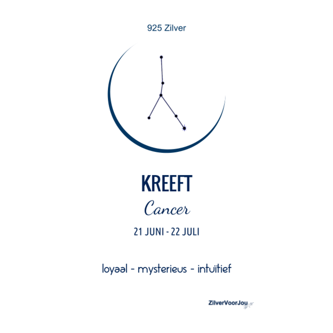 925 Zilveren Kreeft Cancer sterrenbeeld zodiak ketting
