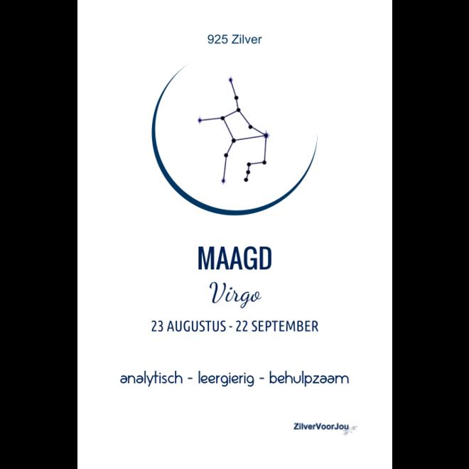 925 Zilveren Maagd of Virgo sterrenbeeld zodiak ketting