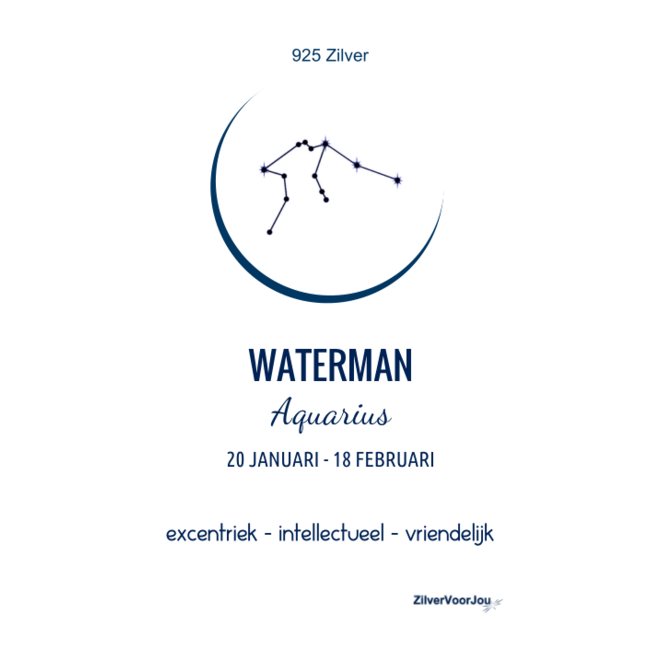 925 Zilveren Waterman Aquarius sterrenbeeld zodiak ketting