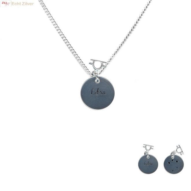 Zilveren Libra zodiak sterrenbeeld ketting