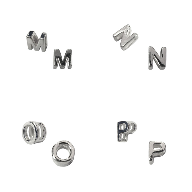 Zilveren alfabet letter kettinghanger 5 mm klein