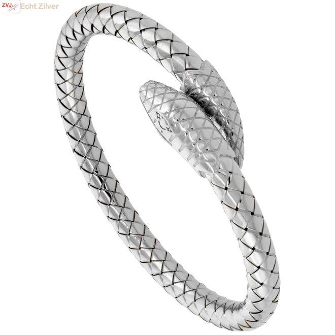 Zilveren snake bypass slang armband