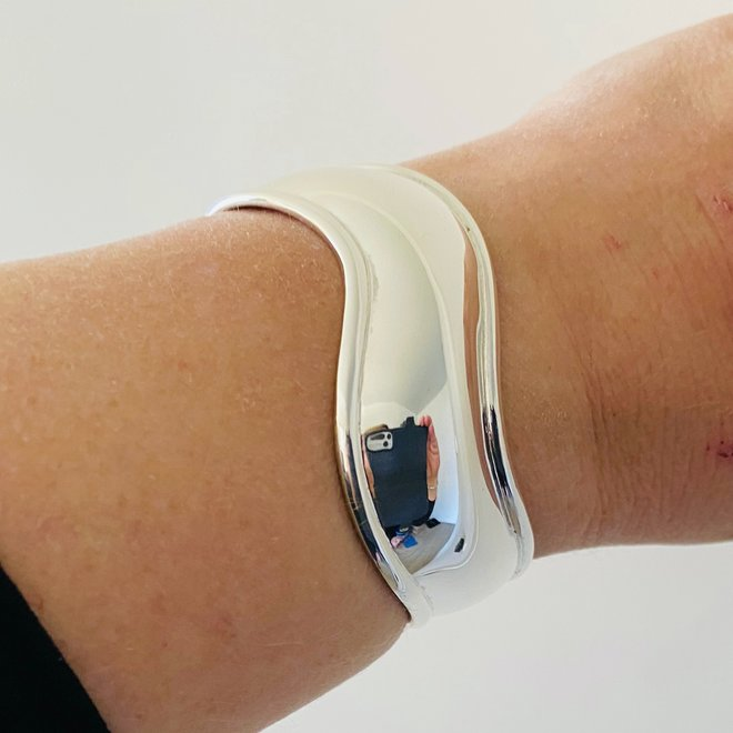 Zilveren wave klemarmband handgemaakt