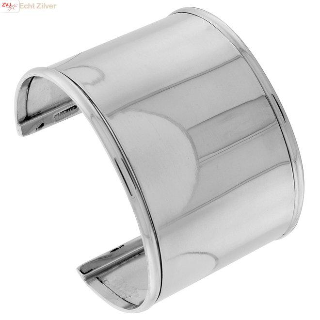 Zilveren brede 45 mm brede klemarmband