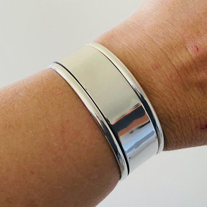 Zilveren 25 mm brede klemarmband handgemaakt