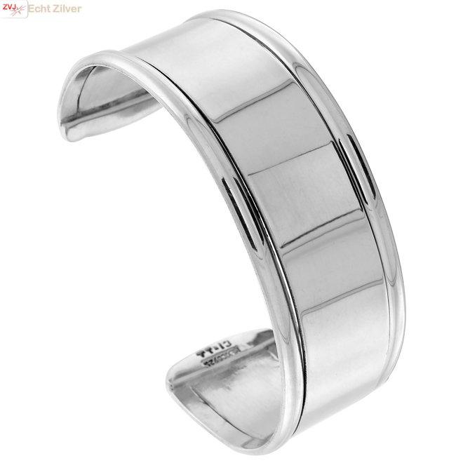 Zilveren 25 mm brede klemarmband