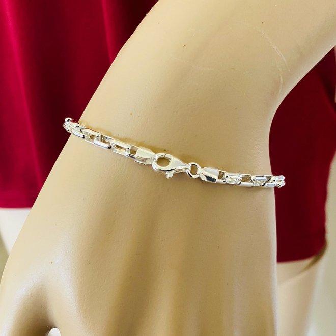 Zilveren long box schakel armband 18 cm 4 mm breed